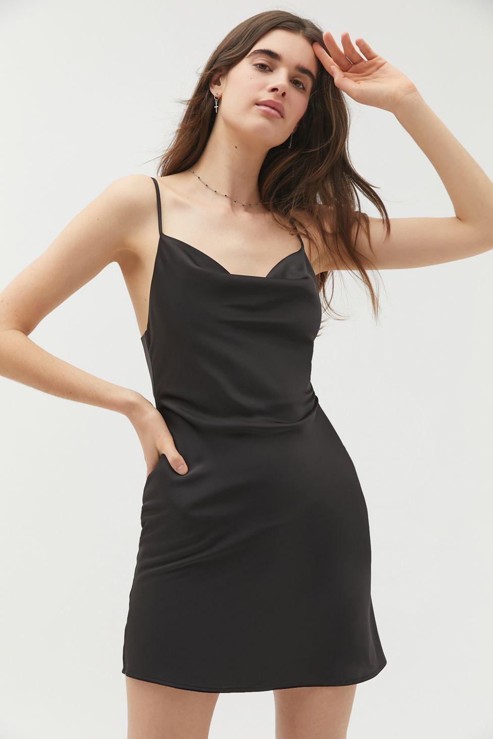 Uo Mallory Cowl Neck Slip Dress In 2020 Slip Dress Mini Slip Dress Satin Slip Dress [ 1463 x 976 Pixel ]