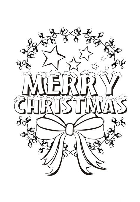 Beautiful Merry Christmas Coloring Page