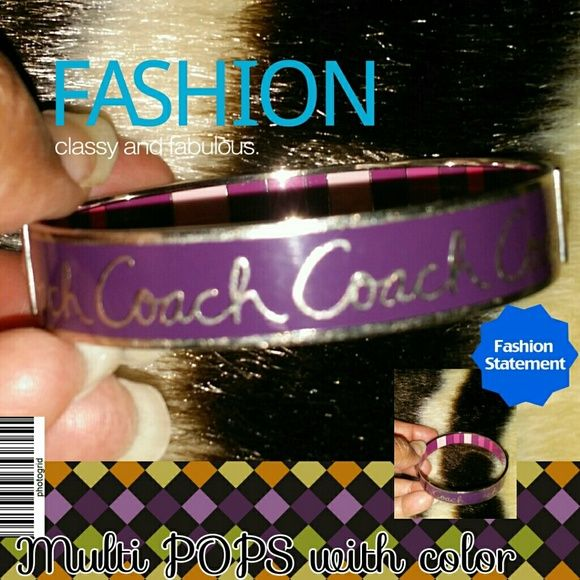 """$75 Just reduced: Authentic Coach bangle Classy purple authentic """"Coach"""" bangle accented with silver writing and adorned with poppin multi colors of pink, ivory and purple tones inside the bangle.  This bangle is new without tags. It was one of the many bracelets I purchased online before realizing not all Coach bangles will fit me. Ugh! Coach Jewelry Bracelets"""