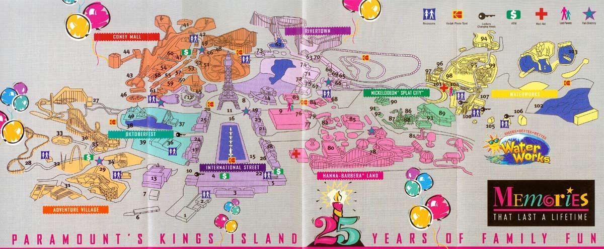 Paramount S Kings Island 1997 Kings Island Theme Park Map Island