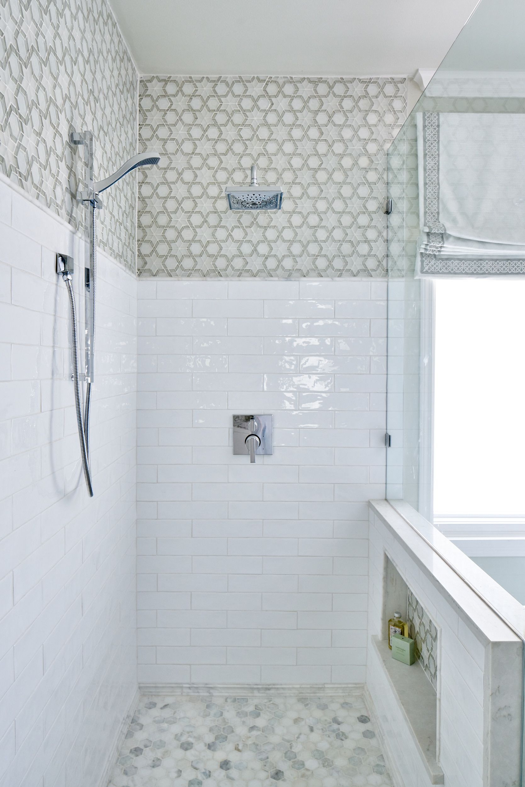 Spa bathroom with white cabinets, mosaic wall tile, Regina Andrews ...