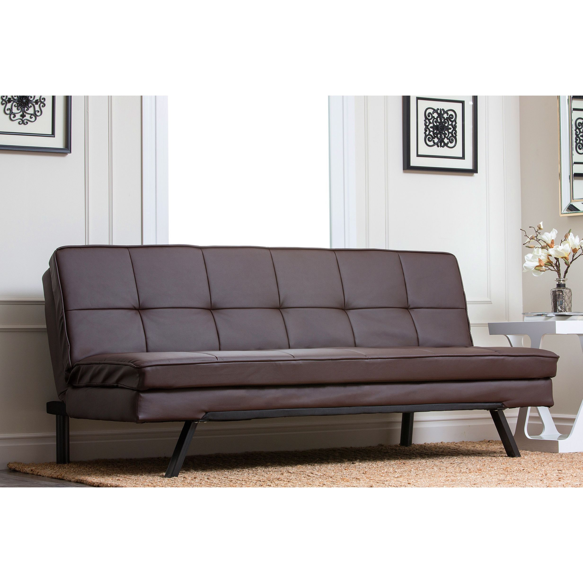 abbyson newport faux leather futon sleeper sofa futon mattress
