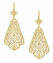 Scalloped Leaf Dangling Sterling Silver Filigree Edwardian Earrings with Yellow Gold Vermeil #artdecojewelry