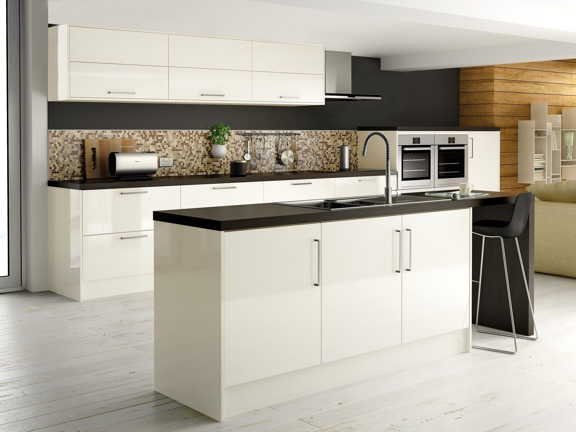 Maida gloss ivory from our definitive kitchens range comes for Kitchen designs high gloss