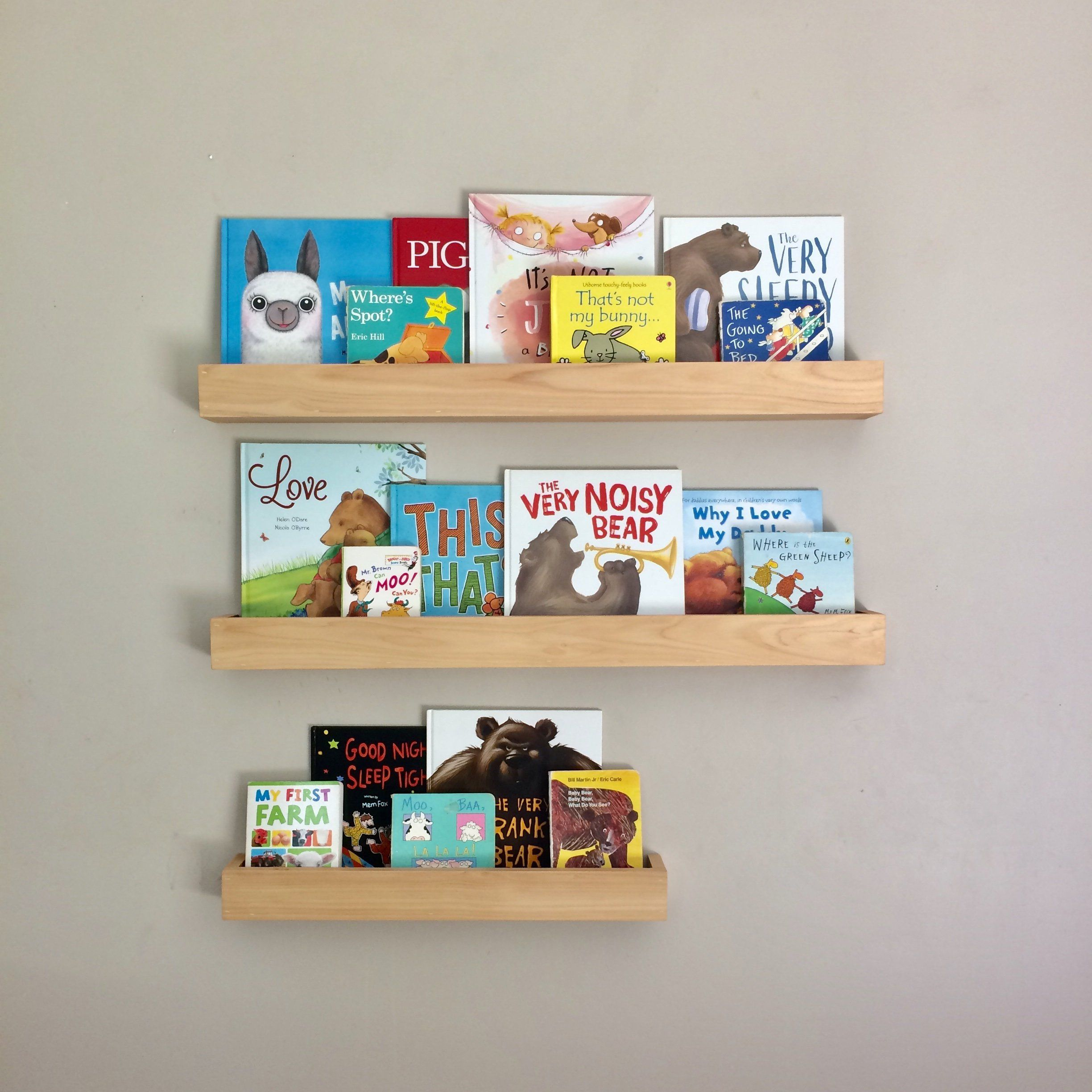 Kids Book Ledges Childrens Bookshelf Timber Wall Mounted Book Ledge Wood Book Shelf Wall Mount Nursery Kids Room Scandi Farmhouse Bookshelves Kids Childrens Book Shelves Wood Book
