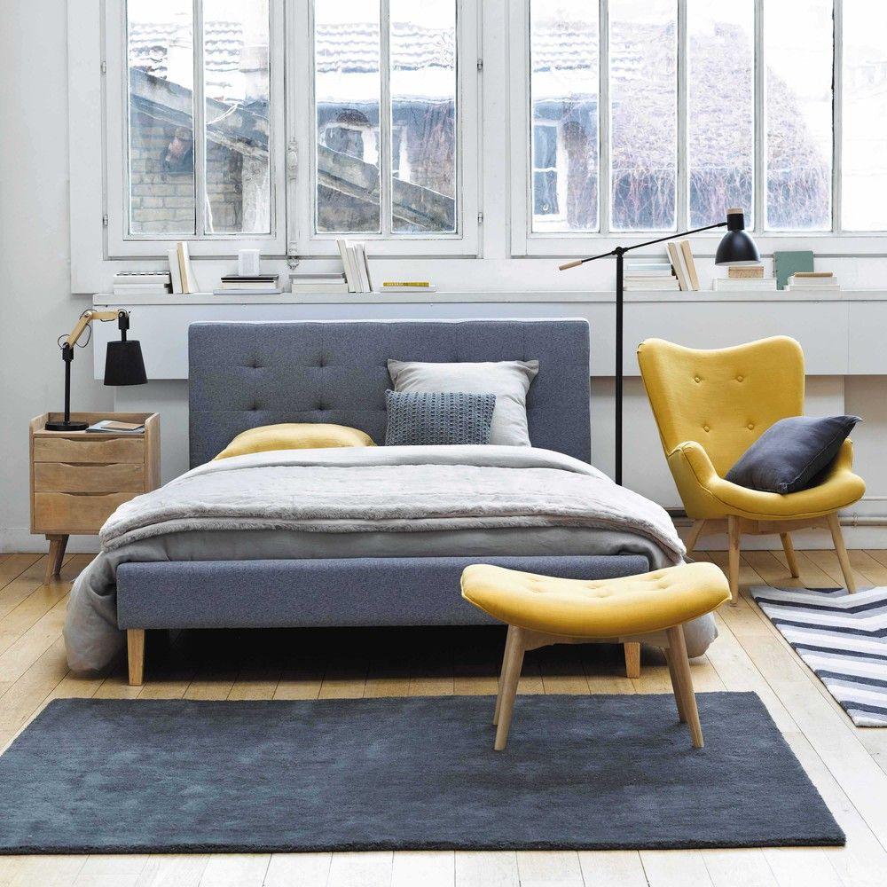 Bett aus Holz und Stoff, 160 x ... - Brent   Wohnung   Pinterest ...