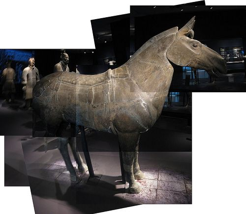 Chariot Horse collage from Terracotta Warriors