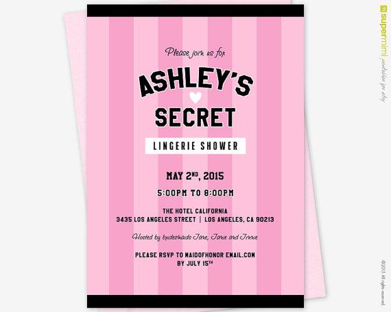 Victorias Secret Pink Black Theme Bridal Shower Invitation Customized Printable
