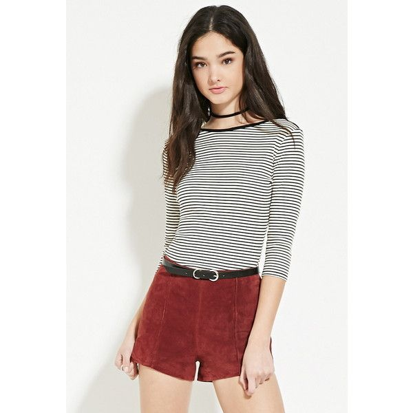 Forever 21 Womens Ribbed Knit Striped Top 13 Liked On