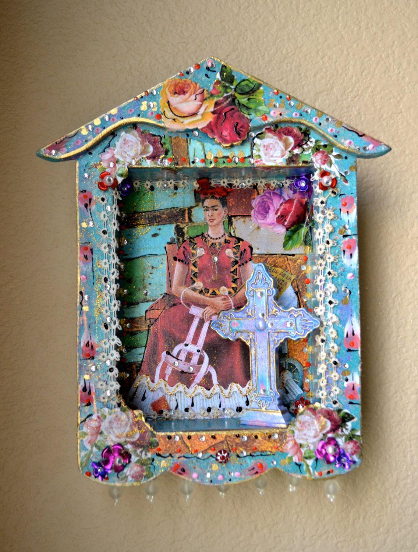 Frida Kahlo Shadow Box Mexican Art Milagro by OliviabyDesign