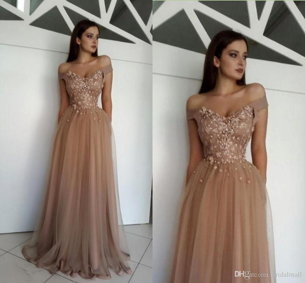 Charming nude tulle appliques prom dresses long off shoulder evening