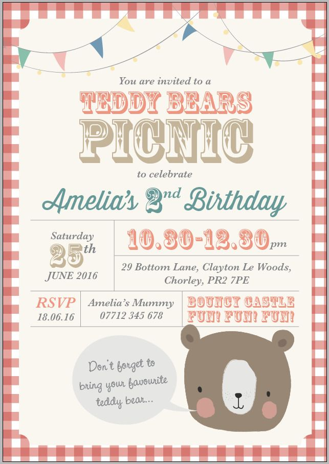 x4 Personalised Teddy Bears Picnic Birthday/Christening invitations ...
