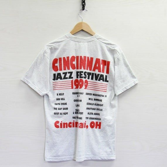 Vintage 1999 Cincinnati Jazz Fest T-Shirt Large 90s R Kelly Chaka Dru Hill Faith