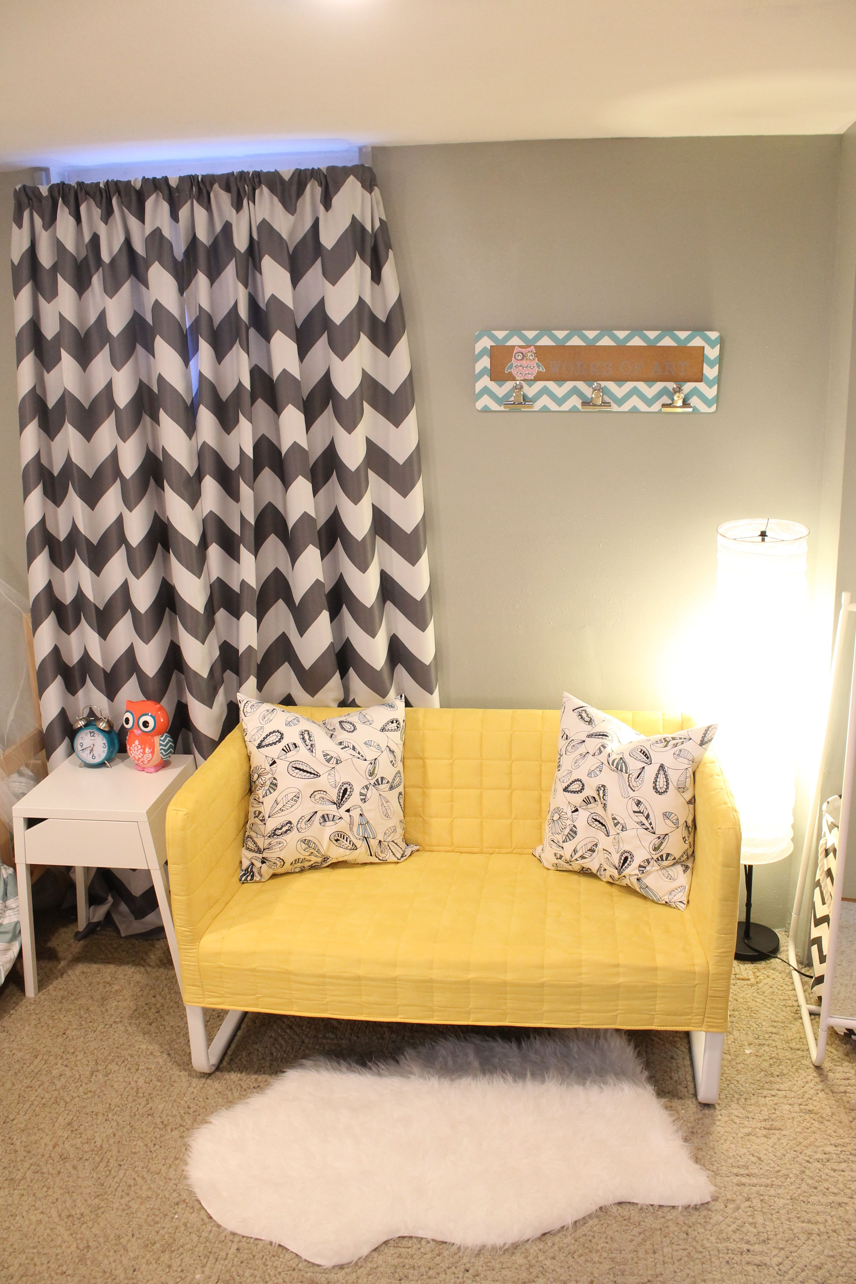 10 year old girl\'s room - yellow couch, rug, nightstand, and pillows ...