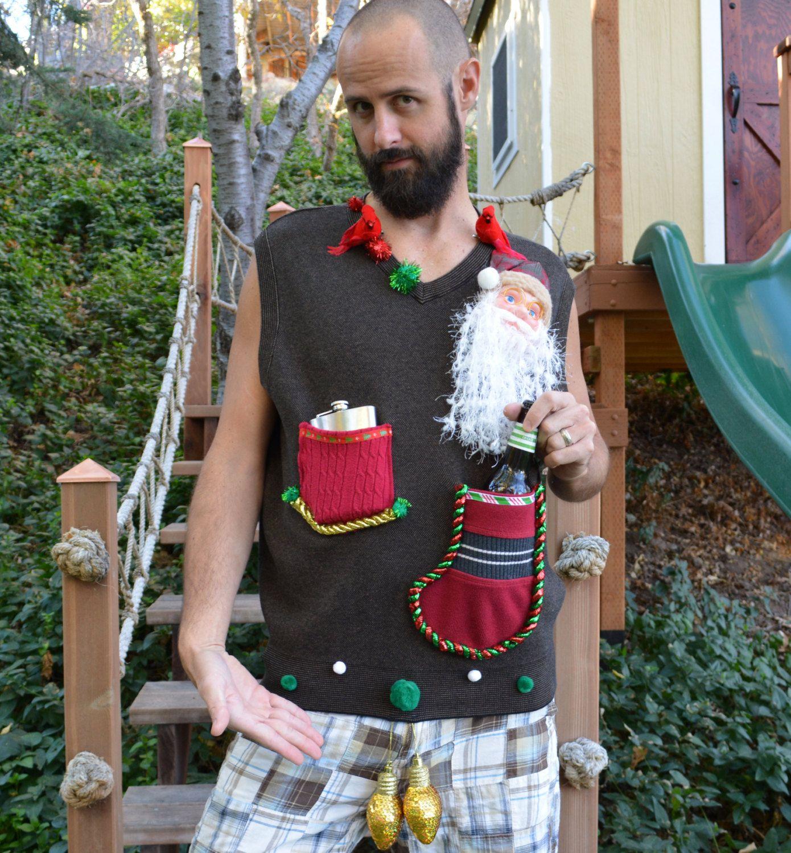 Beer Or Flask Holder, Ugly Christmas Sweater Vest, Mens, Redneck,