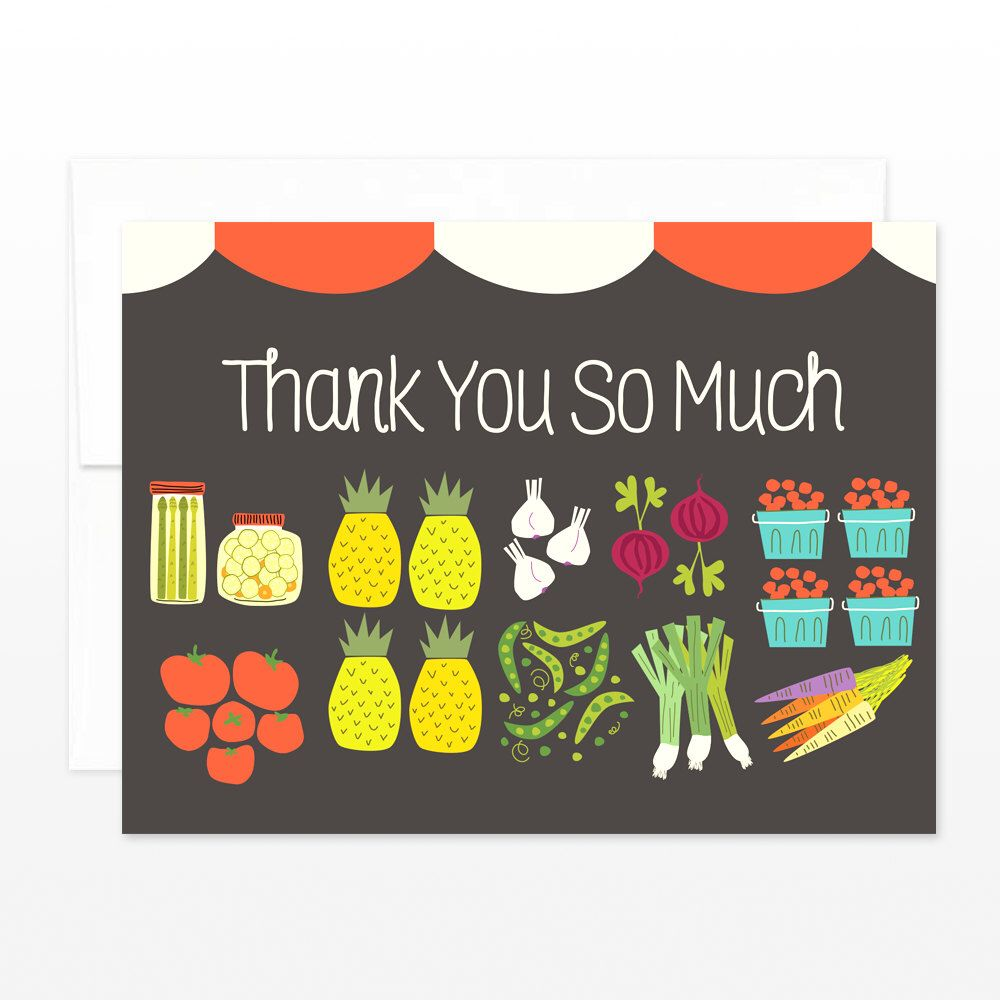Farmers market thank you card thanks greeting card fruit and farmers market thank you card thanks greeting card fruit and vegetables card wedding thank you card friend thanks mom card for her kristyandbryce Images