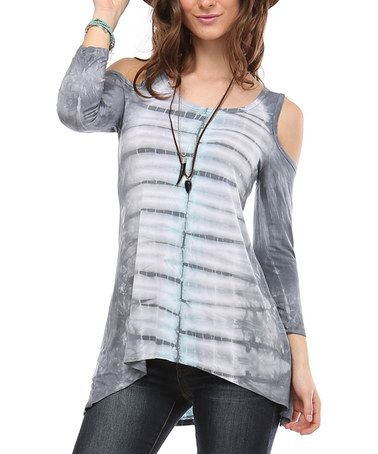 This White & Gray Tie-Dye Cutout Top by Urban X is perfect! #zulilyfinds