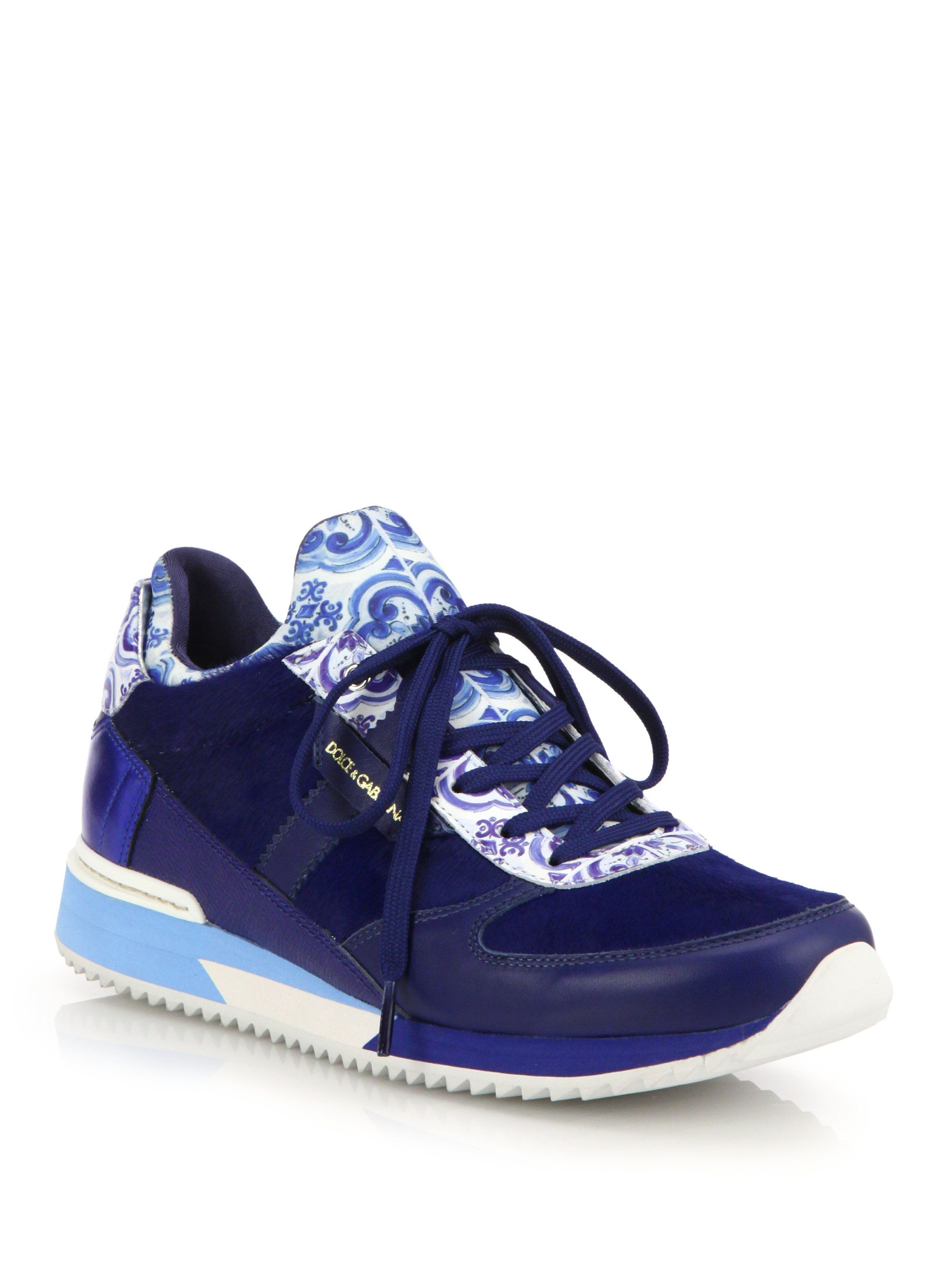 2e6e6b0cba Women's Blue Tile-Print Leather & Calf Hair Sneakers | Couture: Tile ...