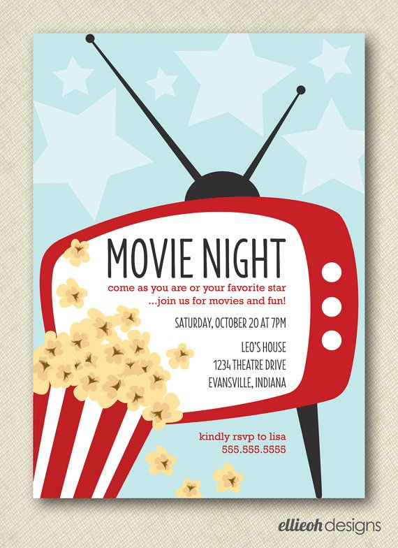 Movie Night Invite PRINTABLE 5x7 Digital File DIY Party Ideas