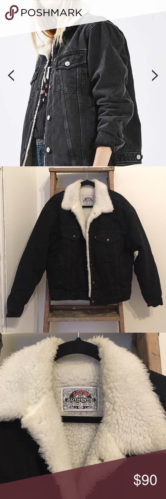 fcbede925d61 Levi's Black Sherpa Denim Jacket Levi's black denim Sherpa jacket. Shearling  lining. Men's size M, fits women's size L or women's M oversized.