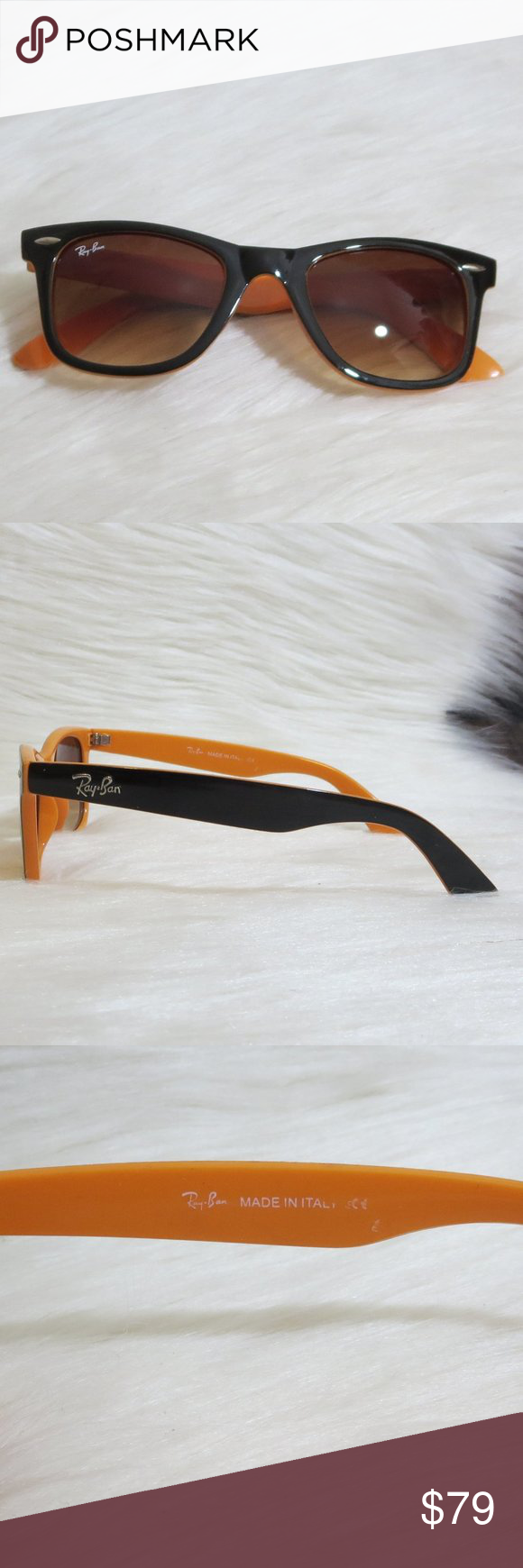 Ray Ban Wayfarer Unisex Orange Black In 2020 Ray Bans Rayban Wayfarer Orange Black
