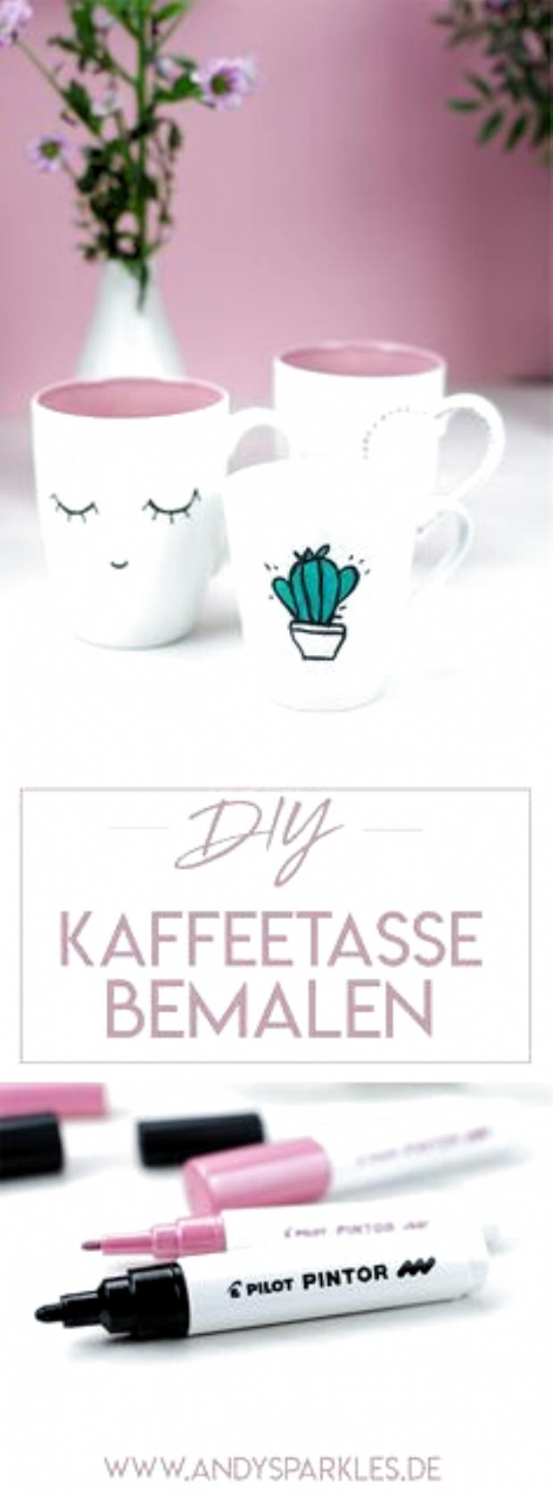 DIY: Kaffeetassen bemalen (mit PINTOR Kreativmarkern) #diy #diyblog #kaffeetasse #malen