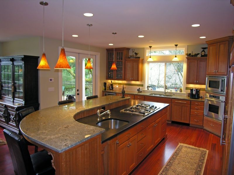 Kitchens with two different colored countertops weifeng for Different kitchen colors