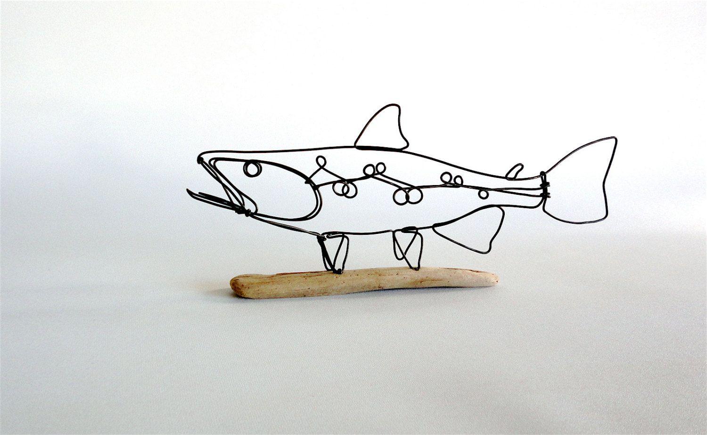 Trout Wire Sculpture, Fish Wire Art, Minimal Wire Design, 486976807 ...