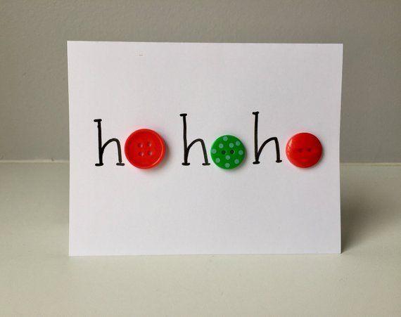 Ho Ho Ho Button Holiday Card