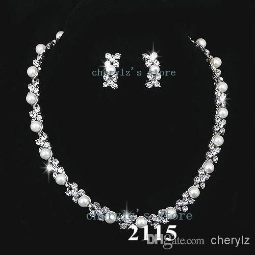 Cheap Wedding Jewellery Set Bridal Bridesmaid Pearl Crystal Necklace Earring Silver Jewelry Accessories Tl012115 As Low 5195
