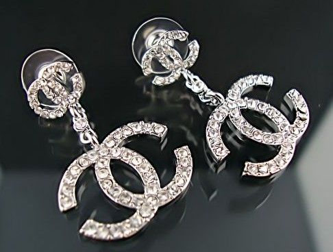 Coco Chanel Silver Diamonds Double C Logo Earrings