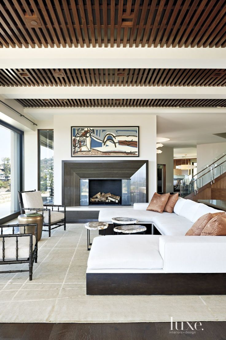 Modern White Dining Room With Slatted Ceiling   LuxeSource   Luxe Magazine    The Luxury Home Redefined