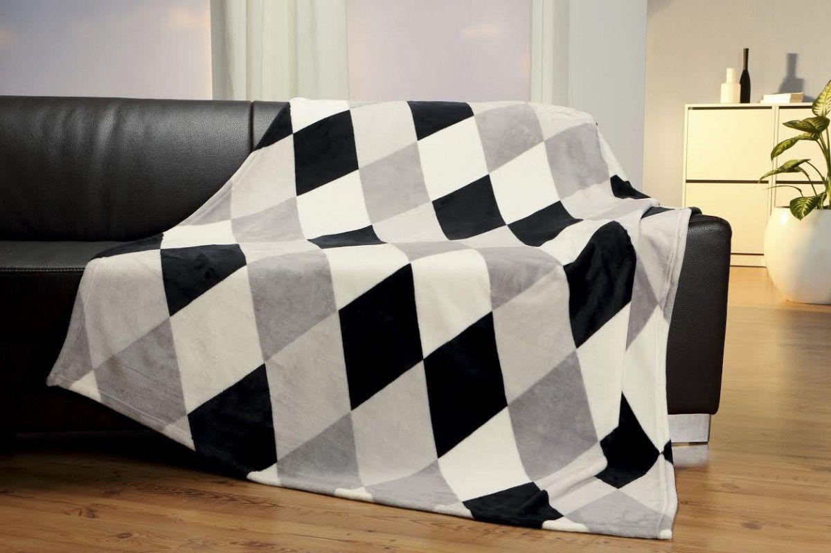 Gardinensysteme Decke flanell fleece decke kuscheldecke flauschdecke raute grau schwarz