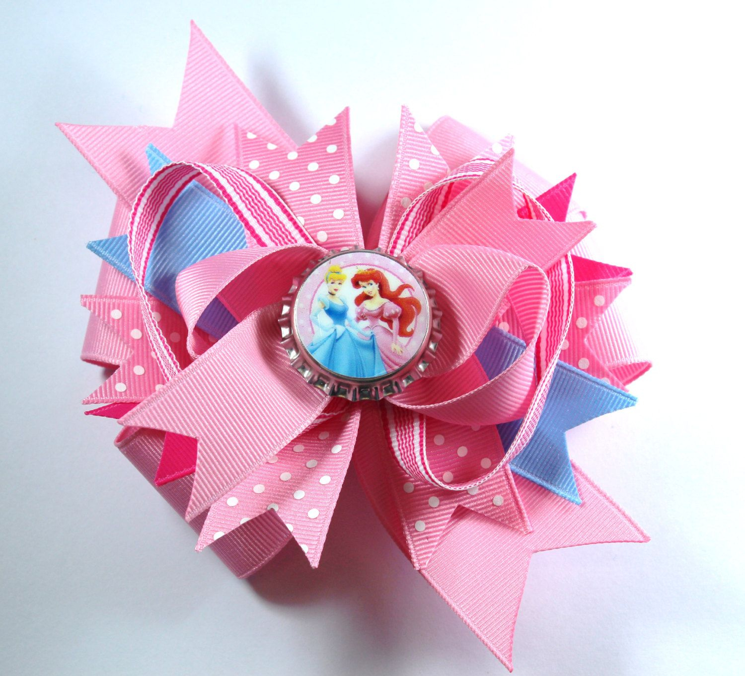 Boutique Princess Cinderella and Ariel Inspired Bottle Cap Hair Bow Clip