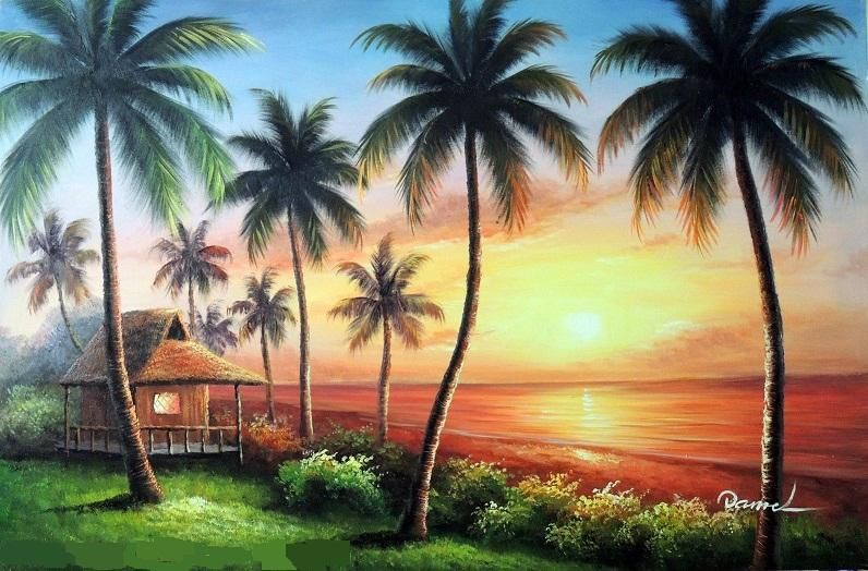 Luxury European Modern Hd 3d Tree Landscape Background Wall Mural 3d Wallpaper 3d Wall Papers For Tv Backdro Palm Trees Painting Hawaii Painting Beach Painting