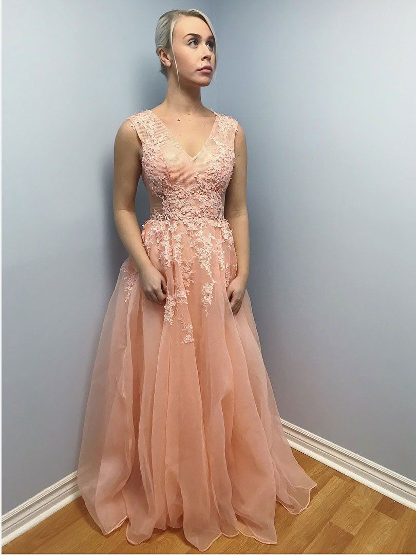 Lace appliqued open back formal dresses tulle peach long cheap prom