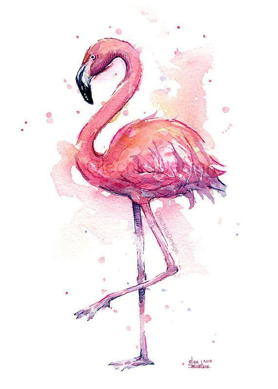 Photo of Pink Flamingo Watercolor, Flamingo Art Print, Pink Bird Watercolor Animal Wall Art Home Decor Tropical Pink Flamingo