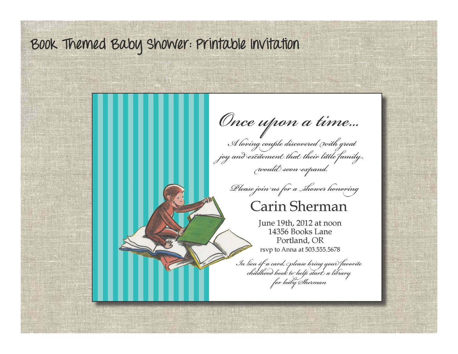 Book Themed Baby Shower Printable Invitation W Curious George 12 00 Via Etsy