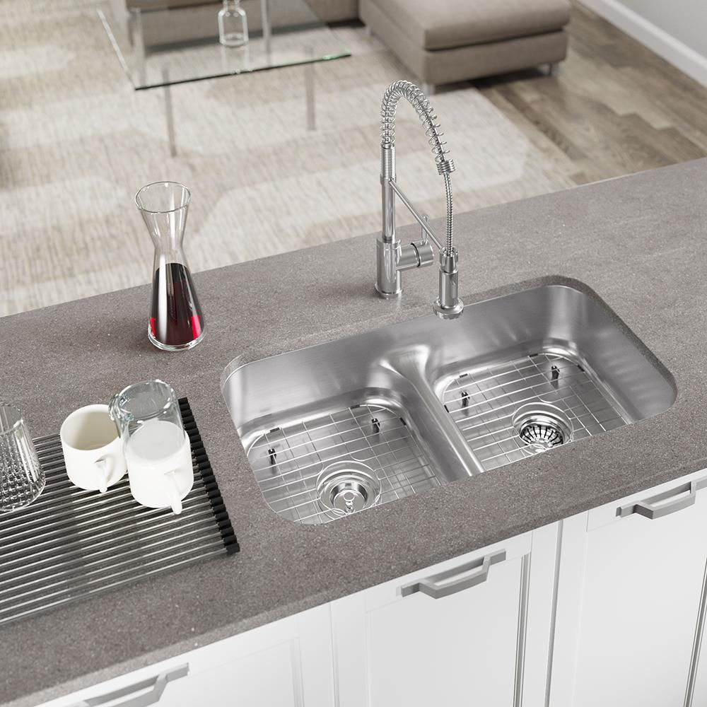 Mr Direct Undermount Stainless Steel 32 1 2 In 50 50 Double Bowl