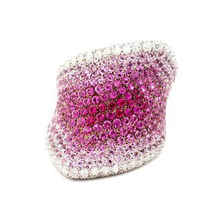 1.58ct Palmiero Diamond & Pink Sapphire 18k White Gold Ring
