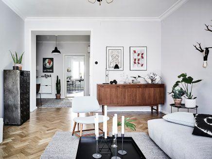 Vintage Woonkamer Meubels : Woonkamer met een mix van scandinavische en vintage meubels