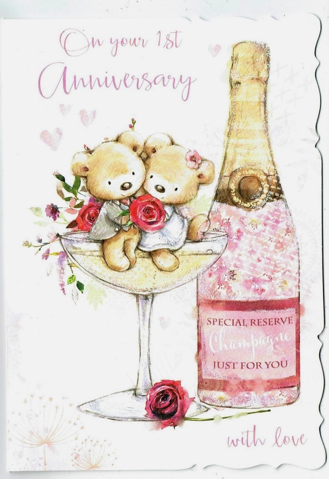 Details About 1st Wedding Anniversary Card With Teddy Bear And Champagne Glas Wedding Anniversary Cards Happy Wedding Anniversary Cards 1st Wedding Anniversary
