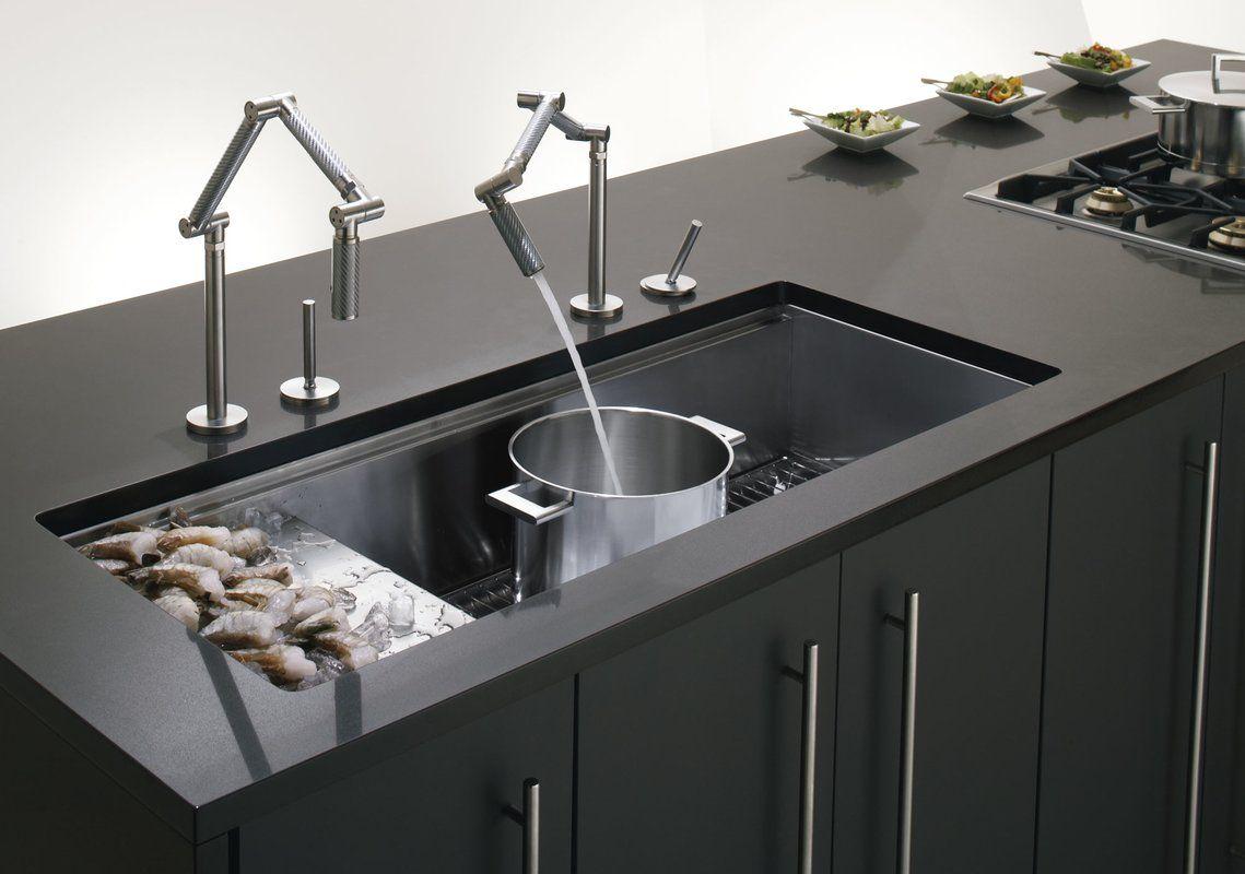 Stages 45 X 18 1 2 X 9 13 16 Undermount Single Bowl With Wet Surface Area Kitchen Sink Stainless Steel Kitchen Sink Kitchen Remodel Modern Kitchen