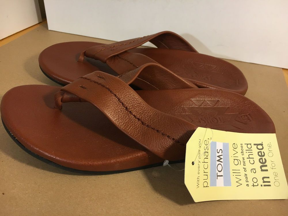 e667091622 Toms NEW Size 9 Men Semana Flip Flop Brown Leather Sandal #TOMS #FlipFlops