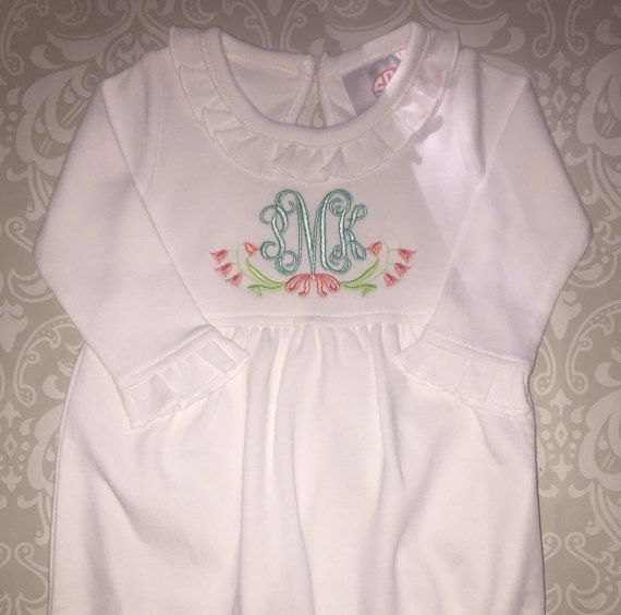 Monogram ruffle infant gown, personalized baby gown, baby shower ...