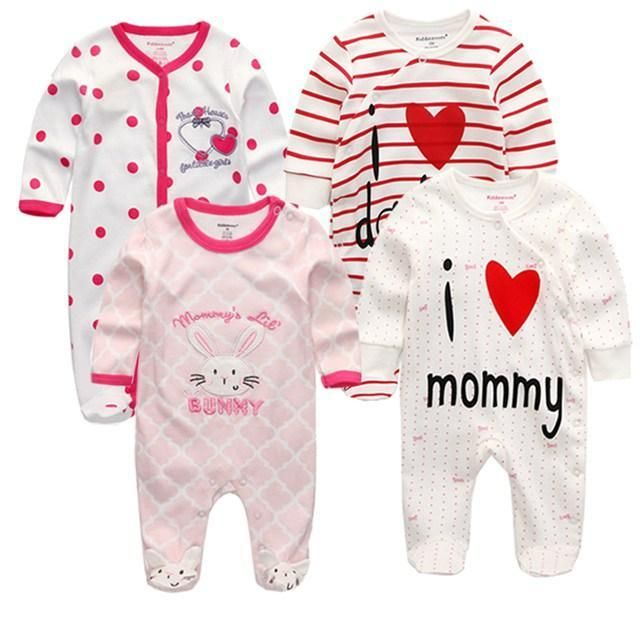 a5a367ab648d 3 4 5Pcs set Super Soft Cotton Baby Unisex Rompers Overalls Newborn Clothes  Long Sleevedresskily