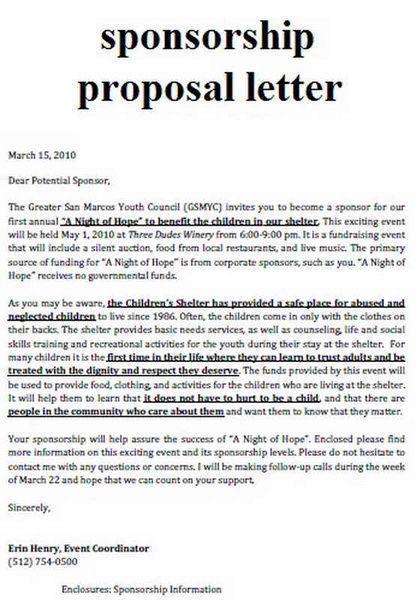 Pinterest Sponsorship Proposal Sponsorship Letter Donation Letter