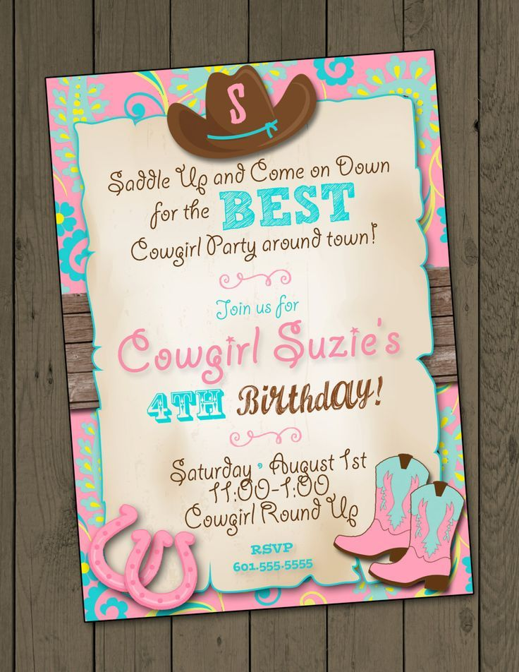 Cowgirl Invitation Cowgirl Birthday Party Invitation Cowgirl Party