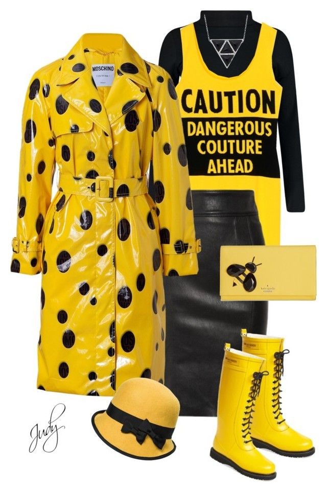 """Bright Coat Fun in Yellow & Black"" by judymjohnson ❤ liked on Polyvore featuring Boohoo, Moschino, Burberry, Kate Spade and Ilse Jacobsen Hornbaek"