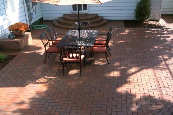 landscape paver pictures   image of a paver patio featuring clay pavers,  herringbone pattern and - Landscape Paver Pictures Image Of A Paver Patio Featuring Clay